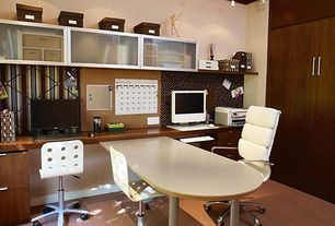 Traditional Home Office with Lider Plus High Back White Office Chair, Concrete floors, Crown molding, Built-in bookshelf