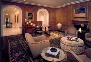 Traditional Home Office with Fireplace, Chair rail, Crown molding, can lights, insert fireplace, Standard height, Carpet