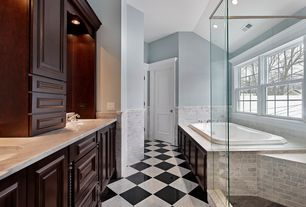 "Traditional Master Bathroom with Double sink, Master bathroom, Simple Marble, Raised panel, Marble subway tile (3""x6"" tile)"