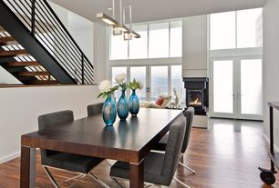 Modern Dining Room with Hardwood floors, Standard height, insert fireplace, Pendant light, can lights, French doors
