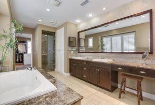 Contemporary Master Bathroom with Emperador dark, Master bathroom, frameless showerdoor, Double sink, Complex marble counters
