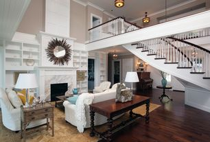 Traditional Living Room with Cement fireplace, Built-in bookshelf, Loft, Exposed beam, flush light, Hardwood floors