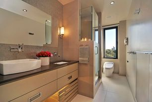 Modern Master Bathroom with stone tile floors, full backsplash, frameless showerdoor, can lights, Wall Tiles, Undermount sink