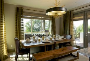 Contemporary Dining Room with flush light, French doors, Hardwood floors
