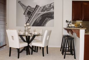 Contemporary Dining Room with specialty door, Built-in bookshelf, Carpet