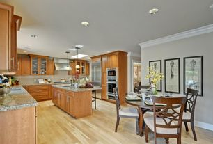 Traditional Kitchen with Pendant light, Undermount sink, Kitchen island, Fork document, Flat panel cabinets, Glass panel