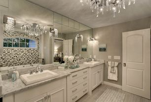Traditional Master Bathroom with Arched window, Flush, Double sink, Flat panel cabinets, Master bathroom, Wall sconce