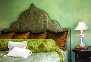 Eclectic Guest Bedroom with Bolster pillow, Buddha table lamp, Accent pillow, Decorative paint treatment