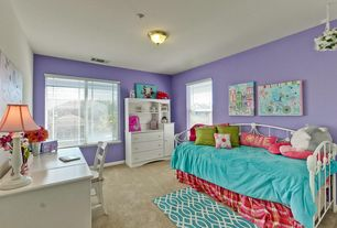 Contemporary Kids Bedroom with Standard height, Carpet, flush light, Casement, double-hung window