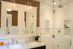 Craftsman Full Bathroom with Double sink, Undermount sink, Signature Hardware Victorian Widespread Faucet, Glass panel