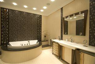 Contemporary Master Bathroom with Daltile colour scheme biscuit glazed porcelain tile, Flush, Crown molding, Master bathroom