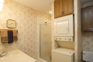 Craftsman Laundry Room with Undermount sink, specialty door, Built-in bookshelf, interior wallpaper