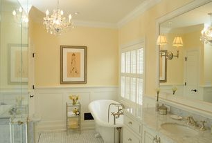 Traditional Master Bathroom with frameless showerdoor, Complex marble counters, Undermount sink, Raised panel, Clawfoot