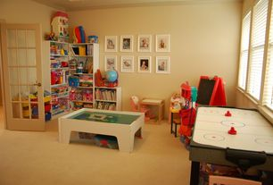 Traditional Playroom with Crown molding, High ceiling, French doors, Carpet, Casement