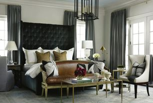 Contemporary Master Bedroom with Standard height, Carpet, French doors, Paint, Pendant light, Crown molding, Casement