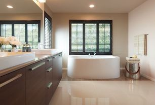 "Traditional Master Bathroom with Corian counters, Vessel sink, European Cabinets, Madeli 24"" Rectangular Bathroom Sink, Flush"