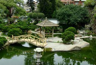 Asian Landscape/Yard with exterior stone floors, Fence, Japanese garden, Pond, Gazebo, Bird bath, Pathway, Fountain