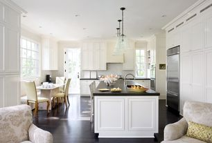 Traditional Kitchen with Crown molding, Kitchen island, Breakfast bar, Pendant light, Undermount sink, French doors, U-shaped