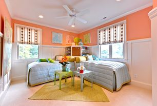 Traditional Kids Bedroom with Wainscotting, Carpet, Crown molding, Ceiling fan, Built-in bookshelf