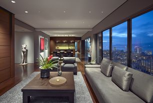 Contemporary Great Room with Walnut - Buck Horn 5 3/4 in. Engineered Hardwood Wide Plank, Built-in bookshelf, Hardwood floors