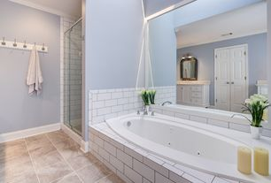 Traditional Master Bathroom with Inset cabinets, Undermount sink, Complex granite counters, Shower, Jetted, Bathtub