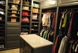 Contemporary Closet with limestone floors, Pottery barn sutton closet island with drawers, Marble countertop