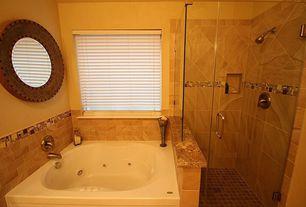 Craftsman Master Bathroom with Imax Harcourt Round Wall Mirror, Shower, Paint 1, Emser Ceramic- Melbourne in Bayside, Bathtub
