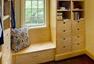 Craftsman Closet with Ikea Alex Drawer Unit, Hardwood floors, Custom built-in shelves and bench - poplar wood