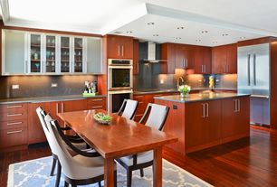 Contemporary Kitchen with Simple Granite Backsplash, Mohawk Raymore Oak Cherry Random Length Solid Hardwood Flooring