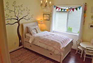 Traditional Kids Bedroom with Hardwood floors, PB Kids Finley Play Table, Pendant light, PB Kids Finley Chair Set Of 2, Mural