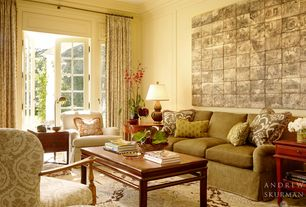 Traditional Living Room with Crown molding, Owen Arm Chair, French doors, flush light, Casey Sleeper Sofa, Standard height
