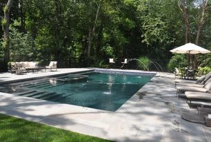 Traditional Swimming Pool with Fence, Raised beds, exterior stone floors, Pool with hot tub