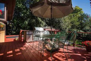 Traditional Deck with Fence, Gazebo, Outdoor grill, Outdoor kitchen, Patio furniture