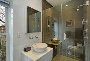 Modern 3/4 Bathroom with Corian counters, Oregon Tile & Marble Metallic Look Porcelain Tile - Nano Corten, Titanium