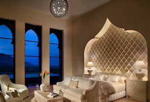 Contemporary Master Bedroom with Chandelier, High ceiling, Hardwood floors, Pottery Barn York Slope Arm Loveseat