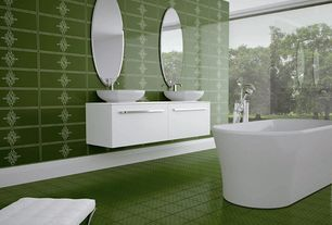 Contemporary Master Bathroom with Freestanding, Corian counters, Double sink, Master bathroom, Flush, Vessel sink