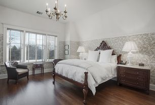 Traditional Guest Bedroom with Chandelier, interior wallpaper, Jayson Home - HARRIET LAMP, High ceiling, Chair rail