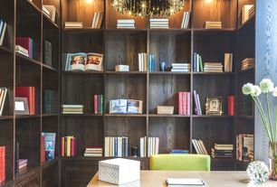 Contemporary Home Office with Box ceiling, Built-in bookshelf, Chandelier, West Elm - Parsons Desk with Drawers