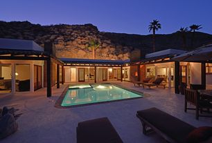 Tropical Swimming Pool with Pool with hot tub, exterior tile floors