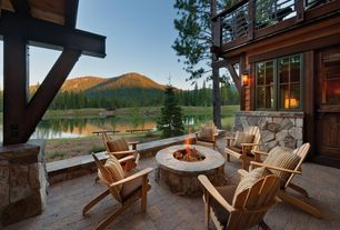 Country Patio with Fire pit, Glass panel door, Deck Railing, Casement, exterior stone floors