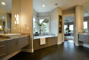 Contemporary Master Bathroom with Kohler reve vessel above counter bathroom sink white