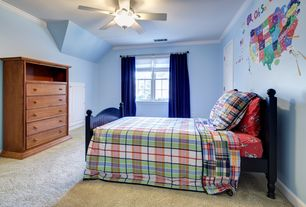 Country Kids Bedroom with Carpet, Mural, Ceiling fan, Crown molding