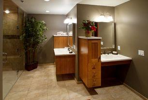 Contemporary Master Bathroom with Undermount sink, European Cabinets, Flat panel cabinets, Flush, flush light