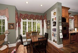Country Dining Room with Built-in bookshelf, Hardwood floors