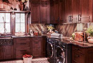 "Craftsman Laundry Room with Signature Hardware 33"" Vine Design 60/40 Offset Double-Bowl Copper Farmhouse Sink, Farmhouse sink"