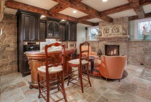 Country Bar with Concrete tile , Box ceiling, stone fireplace, Built-in bookshelf