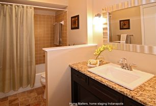 """Traditional Full Bathroom with Inset cabinets, American Olean Legacy Glass 4-1/4"""" x 4-1/4"""" Glazed Field Tile in Leather"""