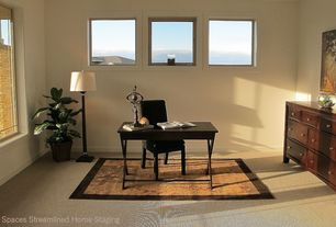 Contemporary Home Office with Standard height, picture window, Carpet