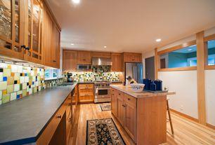 Craftsman Kitchen with Brizo 62436LF Tresa Two Handle Bridge Kitchen Faucet, Undermount sink, Flat panel cabinets, L-shaped