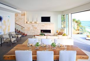 Modern Great Room with Fireplace, Standard height, Woodland creek furniture contemporary rustic dining table design #7